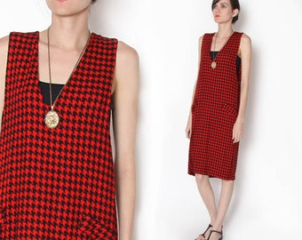 Vintage 90s Oversized Red Black houndstooth Overall Dress