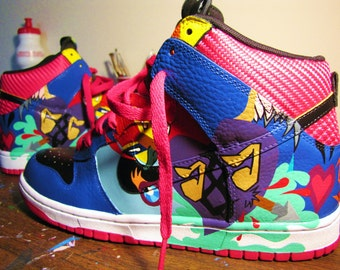"Hand Painted Nike Dunk High ""Love Hard"" Custom Sneakers"