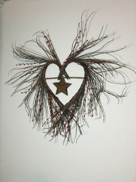 Twig Heart Wreath with Red Berries and Rusty Star