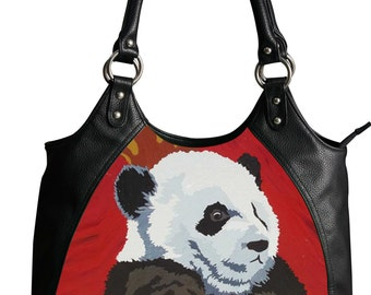 Giant Panda Vegan Leather Retro Handbag by Salvador Kitti - From My Painting, Pensive Panda