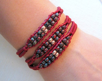 Bohemian Bracelet Wrap with Crimson Leather, Red and Gold Beads