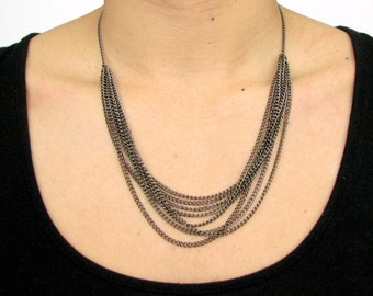 Layered Chain Statement Necklace In Gunmetal