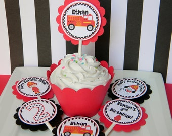 12 Firetruck Birthday Party Cupcake Toppers