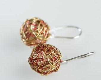 Ball earring blue earring minimal earring ball drop earring for Minimal art jewelry