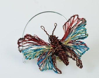 Butterfly Brooch pin Red turquoise Butterfly jewelry Wire sculpture Art jewelry Insect jewelry Mother day jewelry Easter gift Modern brooch