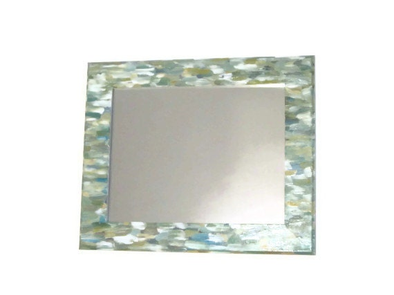 Items similar to green beach themed bathroom mirror for Colorful bathroom mirrors