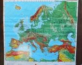 vintage wall map of Europe, Rand McNally school room, window shade from Diz Has Neat Stuff