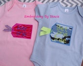 "TWINS ""Buy One, Get One FREE"" Embroidered / Appliqued *LONG Sleeve* Onesie Set"