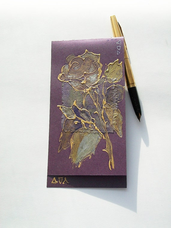 Golden rose on purple - blank greeting card for any occasion - silver, light green, sparkles, lilac - floral artwork - botanical art - OOAK