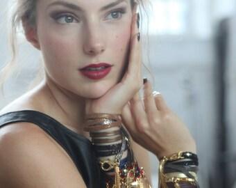 Bronze Leather Triple Wrap Tassel Bracelet- Jewelry