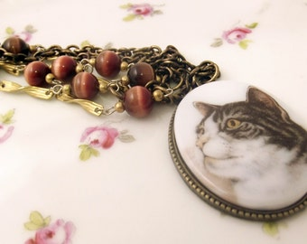 Brown and white tabby cat cameo necklace Handmade using vintage findings antique brass cats eye necklace tom cat kitty necklace cat lover