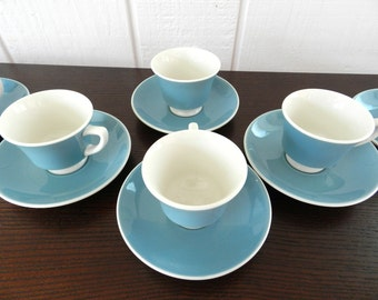 Gorgeous Mid Century Vintage Syracuse China Demitasse Cup and Saucer Slate Blue Grayish Blue set of  2