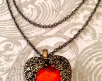 Jewelry Necklace Victorian Steampunk Red Heart Necklace Romantic Inspired