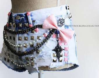 Custom Distressed Bleached High Waisted Studded Denim Shorts with Chains