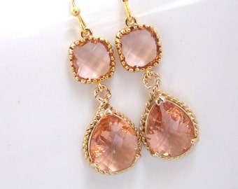 Gold Peach Earrings, Champagne Earrings, Coral, Bridesmaid Jewelry, Wedding Jewelry, Bridesmaid Earrings, Bridal Jewelry, Bridesmaid Gifts