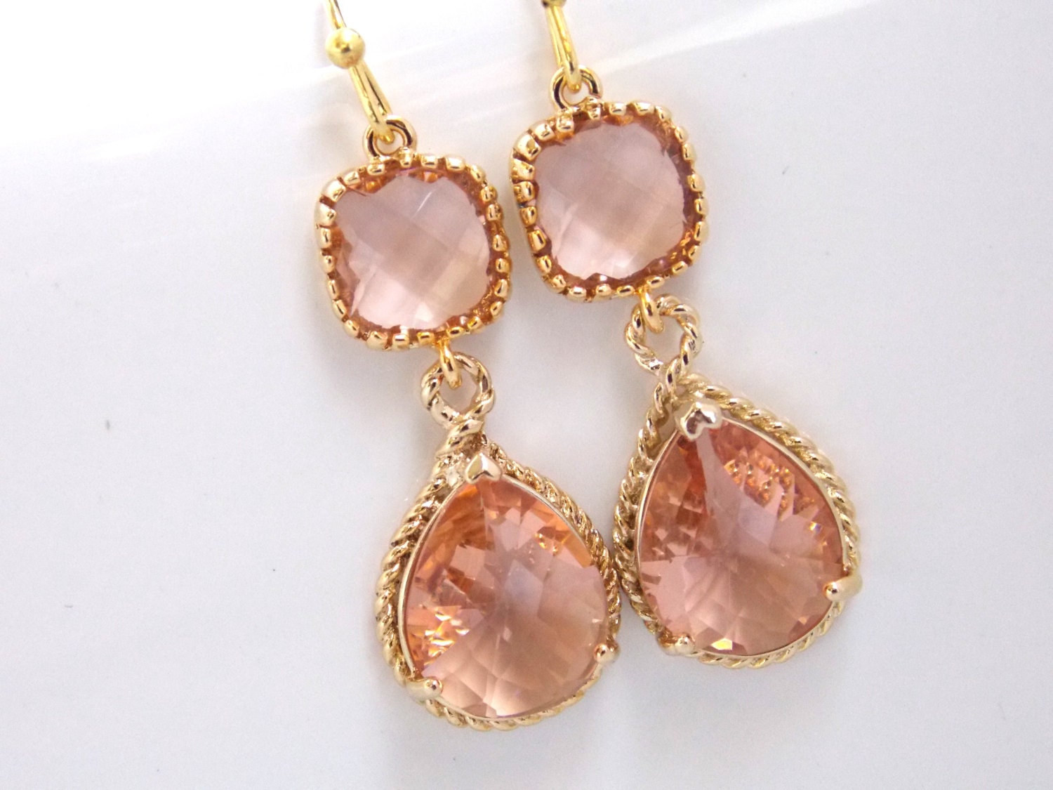 Gold Peach Earrings Champagne Earrings Coral Bridesmaid