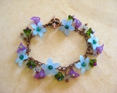 Spring Mix Blue and Purple Lucite Flower Beaded Charm Bracelet