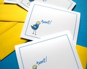 Birdie Tweet Note Cards - Thank You Notes - Hello Cards - Stationery Set of 4 Note Cards