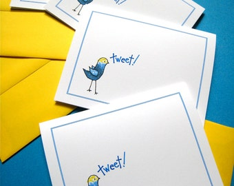 Bird Hello Note Cards - Birdie Tweet Stationery Set - Thank You Notes - Set of 4 Note Cards