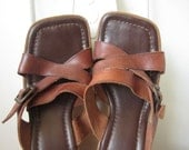 vintage size 7.5 brown leather strappy wedge sandals