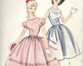 vintage 1960s teen DRESS advance sewing pattern 8594 size 12s sub-teen PARTY full skirt mad men RETRO puff sleeves