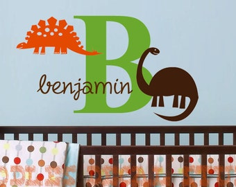 Dinosaur Wall Decal - Dino wall stickers - Name Decals for boys - Nursery Dinosaur Art - monogram decal for kids room