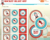 Rocket Ship Spaceship Birthday Party Printables - Party Circles - Party Logos - DIY Print - Blast Off - Instant Download