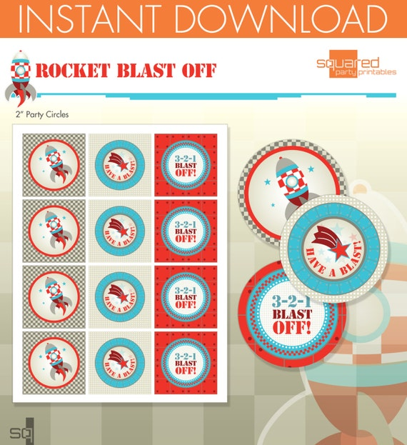 Ship Spaceship Birthday Party Printables - Party Circles - Party Logos ...