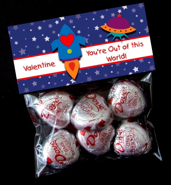 INSTANT DOWNLOAD - Printable Valentine Treat Bag Toppers  - You're Out of this World Valentine