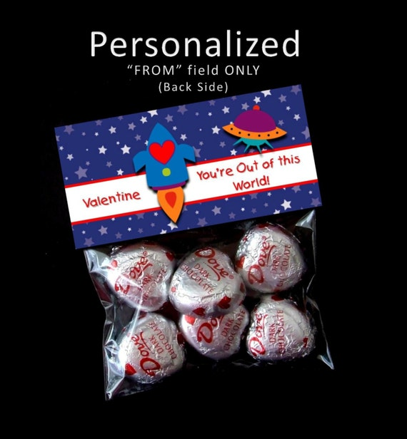 Printable- Personalized -  Valentine Treat Bag Toppers  - You're Out of this World Valentine