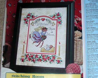 ANGEL ALLELUIA Hand-Painted 8x10 Mat for Cross Stitch Pattern (Included)