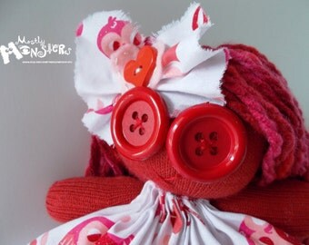 """ZOMBIE BABY Glove Doll... """"Owl Love You"""" in Owl print"""