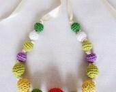Crochet Beads Necklace, Colorful Children Necklace, Crochet Necklace,  Crochet Jewelry, Girls Necklace, Eco Friendly,  OOAK