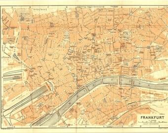 1914 Frankfurt City Map, Antique Street Plan, Germany, Baedeker