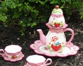 Strawberry Shortcake Teapot Garden Decor - Pink Party Centerpiece