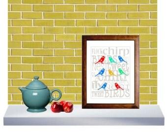 Printable birds on a wire, Typography, Modern Wall Decor, Printable Art