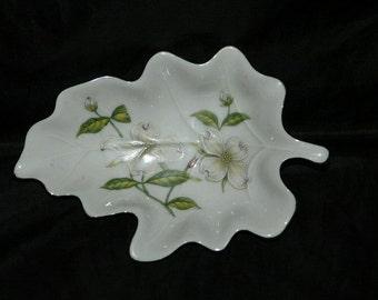 Vintage Lefton China Leaf Shaped Bowl Hand Painted Flowers Floral Design Japan Candy Dish Decor