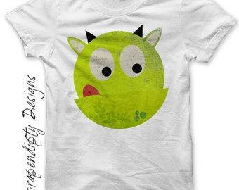 Monster Iron on Shirt PDF - Alien Iron on Transfer / Outer Space Tshirt / Kids Girls Clothing Top / Toddler Monsters Birthday Party  IT14
