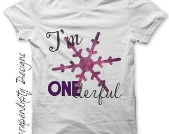 Girls One Iron on Transfer - Birthday Iron on / First Birthday Shirt / Girl Snowflake Tshirt / I'm Onederful Clothes / Kids Clothing IT192