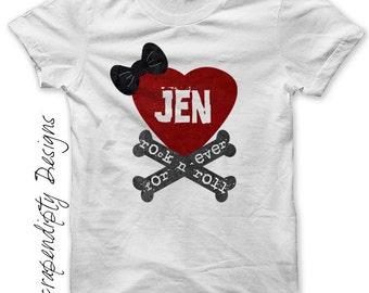 Rock and Roll Iron on Transfer - Crossbones Iron on Shirt PDF / Kids Girls Clothing Tops / Bow Heart Tshirt / Rock Shirt Design Printable -C