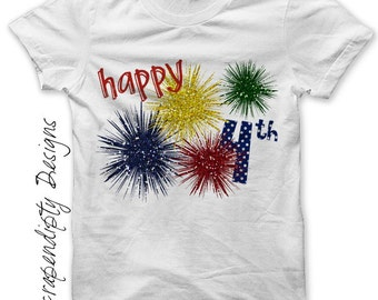 Fourth of July Iron on Shirt - Fireworks Iron on Transfer / Toddler 4th of July Shirt / Kids Girls Summer Tshirt / Glitter Fireworks IT209