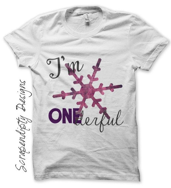 Girls One Iron on Transfer - Birthday Iron on / First Birthday Shirt / Girl Snowflake Tshirt / I'm Onederful Clothes / Kids Clothing IT192-P