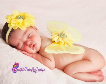 SALE Yellow Butterfly Wing Set and Matching Headband, Newborn Photo Prop, Glitter Butterfly Wings, Newborn Baby Wings
