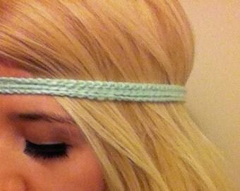 Crochet Mint Headband-  Hippie headband- Pick your color