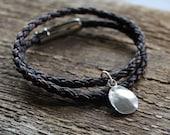 Personalized Fingerprint Bracelet - Leather & Fine Silver - Unisex Gift
