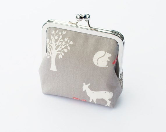 Woodland Coin Purse, Organic Fabric, Vegan Wallet, Grey, Red, and White