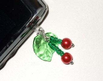 Phone Charm, Rockabilly Cherries, Beaded Phone Plug, Kitsch Cherry Phone Jack, iPhone Accessory, Cell Phone Charm, Fruits Mobile Phone Plug