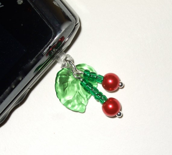 Phone Charm, Rockabilly Cherries, Beaded Phone Plug, Kitsch Cherry Phone Jack, iPhone Accessory, Cell Phone Charm, Fruits Mobile Phone Plug
