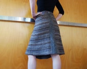 Eco fashion, brown linen/wool skirt, nuno felted, natural designer clothing, eco friendly clothing, funky women's clothing, urban hippie