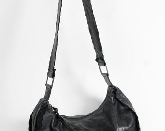 Soft Black Leather Hobo Bag by Nuovedive circa 1990s.  Made in Italy.